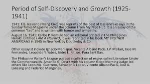 and philippine literature in english 28 period of self discovery