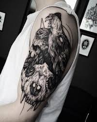Tattoo Ideas On Arm Of Wolf Tattoo With Skull With Blackwork Tattoo