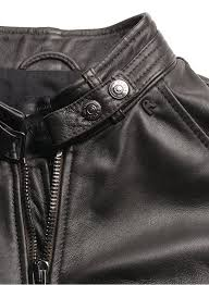 replay biker style leather jacket black