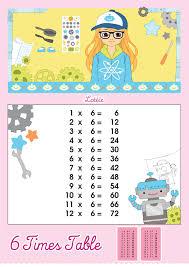 6 Times Table Multiplication Chart Lottie Dolls