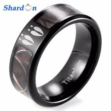shardon men s black anium deer tracks realtree camo ring outdoor hunting enement wedding band ring men ring anium