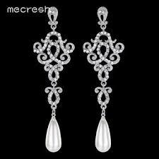 mecresh trendy silver gold color crystal chandelier long drop