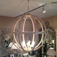 orb light chandelier attractive wooden fixture round wood brushed nickel crystal 6