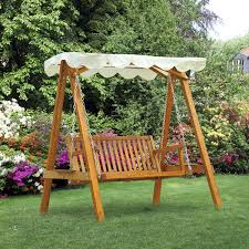 outsunny wooden swing chair outdoor patio furniture waterproof canopy 2 person