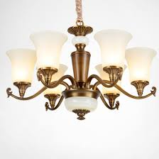 american country living room villa retro copper chandelier lamp with glass shade
