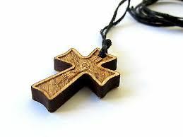 orthodox wood cross crucifix pendant