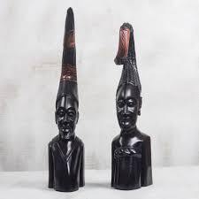 hand carved wood man and woman sculptures from ghana pair african couple