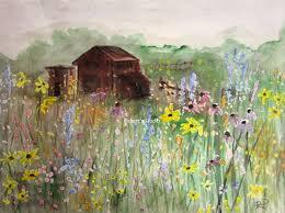 1500x1117 field of flowers print of original watercolor painting barn wildflower painting