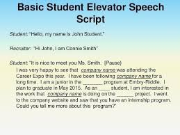What Is A Elevator Speech Elevator Speech Template 9 Examples Students Resume With Regard