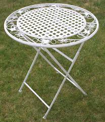 white metal outdoor furniture. Maribelle White Round Metal Floral Designed Folding Outdoor Garden Patio Dining Table: Amazon.co.uk: \u0026 Outdoors Furniture F