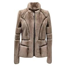 barbara bui grey mink fur jacket with leather panels for