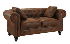 details about distressed rustic chesterfield faux suede loveseat sofa 2 seat couch brown
