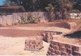retaining wall large yard landscape