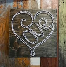 Love Scribed into Heart String Art with Silver Nails | Amaliy mfg.