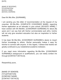 Recommendation Letter For Colleague Letter Of Recommendation For Co Worker 18 Sample Letters