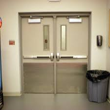 hollow metal double doors with 6 x 27 narrow vision lites