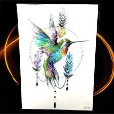 акварель геометрия колибри листьев временные татуировки стикеры колье