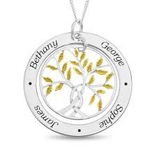 sterling silver personalised with 4 names family tree pendant with gold plated leaf design on 18 curb chain optima jewellery
