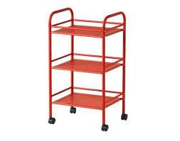 Ikea Draggan Rolling Storage Cart Craft Kitchen Bathroom Red Metal Roller  Wheels