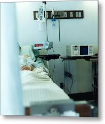 Medical Monitoring Patient In Hospital Bed Medical Monitoring Equipment At Bedside Metal Print