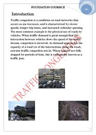 traffic congestion 3 foundation course ii 3 2011 introduction traffic congestion