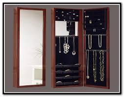 mirrotek jewelry armoire over the door mirror cabinet oak