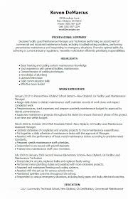 Facility Maintenance Manager Sample Resume