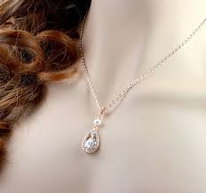 rose gold bridal pearl necklace cubic zirconia pearl teardrop necklace swarovski wedding pearl pendant necklace