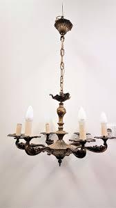 a heavy six light brass chandelier in louis xv style france 20th century