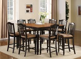 Dining Room Table And 8 Chairs 9 Pc Counter Height Dining Room Set Table 8 Stools In Black And Brown