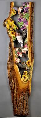 Hummingbirds on Flower Carved Wood Handmade Gift Wall <b>Art</b> by ...