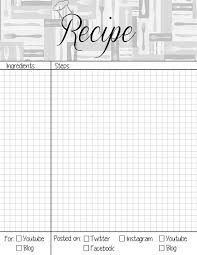 Recipe Journal Template Recipe Book Page Planner Agenda Weekly Template Free