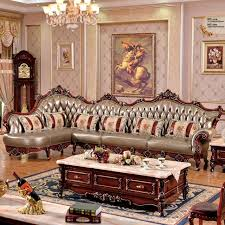 L Shaped Sofa Solid Wood Carving Antique Leather Living Room68