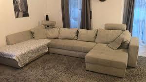 Grosse Wohnlandschaft Sofa Stoff Grau Inkl