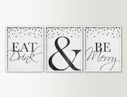 zoom on whimsical kitchen wall art with eat drink be merry dining room wall decor modern dining