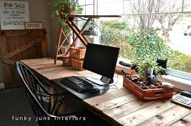 pallet office furniture. Celebrate The Beauty Of Repurposed Wood, Like This Palette Desk From Funky Junk Interiors. When Recycling Refrain Painting If Possible. Pallet Office Furniture