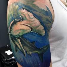 hammerhead shark tattoo drawing. Interesting Shark Watercolor Guys Half Sleeve Hammerhead Shark Tattoo Design Ideas With Drawing H