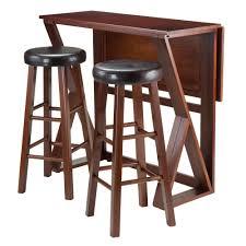 3 Piece Dining Set Amazoncom Winsome 3 Piece Harrington Drop Leaf High Table With