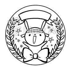 学校幼稚園保育園イベントメダル線画塗り絵イラスト No 884501無料
