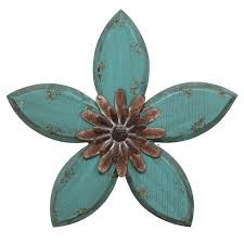 decor antique flower wall decor in teal