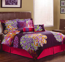 bedroom colorful flower show twin comforter set on pink bed with brown leather headboard on