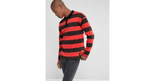 lyst sixth june rugby polo shirt in black with red stripes in black for men