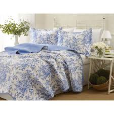 laura ashley shabby chic bedford blue fl cotton bedspreads quilt set twin