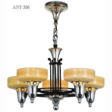 late streamline art deco five light chandelier with custard cup shades ant 356 for