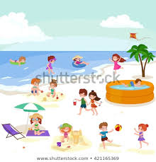 fun at summer beach happy cartoon kids playing sand around water vector ilration cute