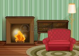 family room clipart. illustration of a living room with fireplace family clipart