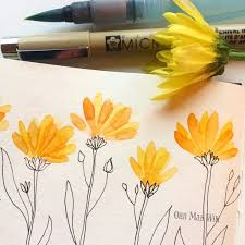 it s a pretty miserable day so cheered myself up with soe simple bright fls watercolour with micron pen line