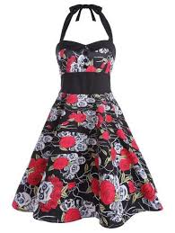 <b>Floral Skull</b> Backless Dress #fashion #gothgirl #jewellery ...