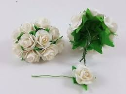 Paper Flower Stems Rose Flowers Bouquet 20mm With Wire Stems Handmade Card Mulberry