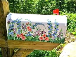 painted mailbox designs. Painting Mailbox Post Beautiful Hand Painted With Wildflowers Free Personalizing Designer Style Functional Art Original Design Designs